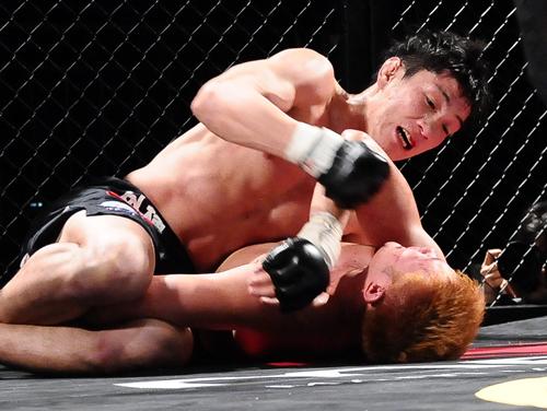 ▲サイドポジションを奪ったDJ.taiki(上)が原田ヨシキ(下)をパ... 【Fight &a