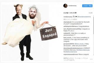 ラウジーが婚約発表として投稿したおもしろ画像(ラウジーのインスタグラムより)