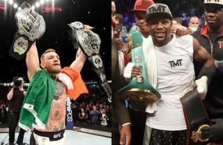各所に波紋を呼んでいるマクレガー(左)vsメイウェザー(右)PHOTOS=UFC:By courtesy of Zuffa LLC / Getty Images Boxing:NAOKI FUKUDA/WOWOW(c)