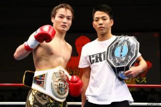ISKA世界王座の初防衛に成功した志朗(左)とISKAインター新王座に就いた麗也(右)
